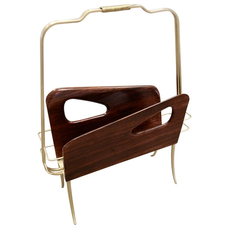 Italian Midcentury Magazine Rack or Stand in Wood and Brass For Sale