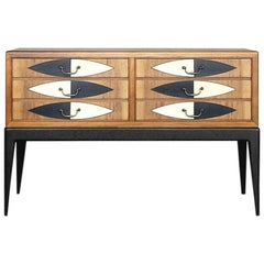 French Modern Cabinet in Oak with Hand-Painted Pattern, 1950s