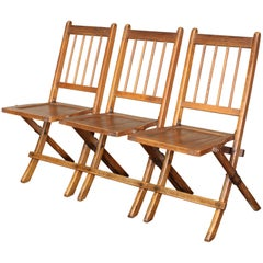Vintage Set of Three Tandem Stadium Folding Chairs, Seats, Bench