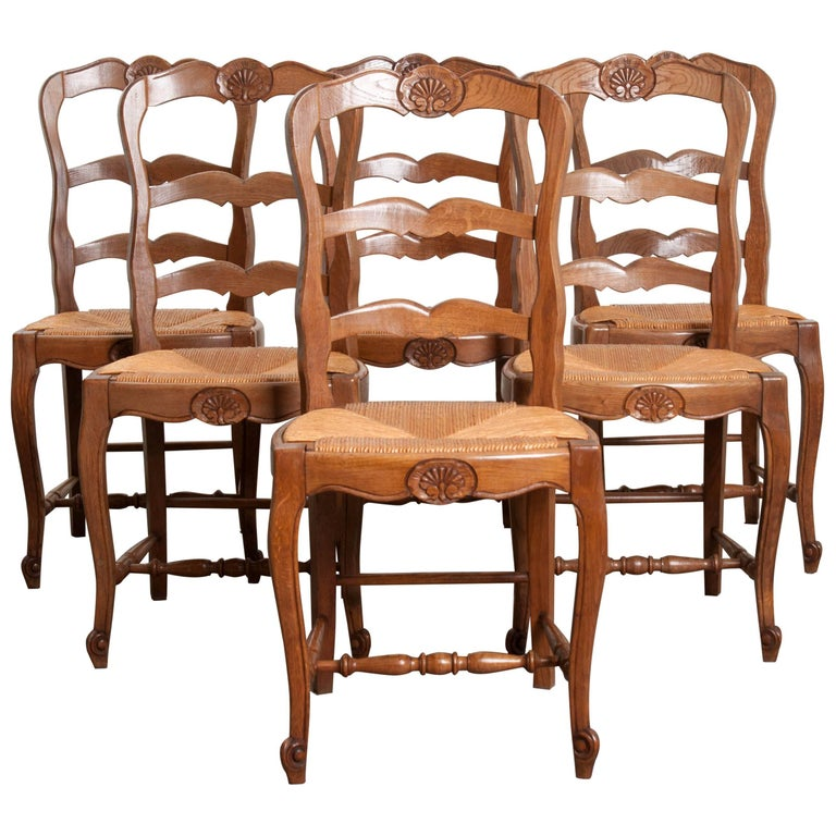 Set of Six French Oak Ladder Back Chairs with Rush Seats