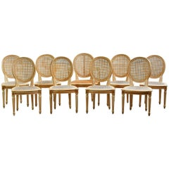 Set of Nine Louis XVI Lacquered Caned Dining Chairs