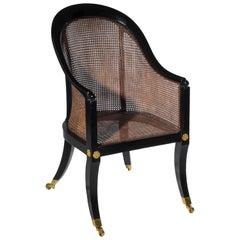 English 19th Century Regency Black Painted Klismos Tub Desk Armchair