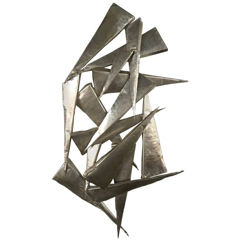 Brutalist Silvered Tin Wall Sculpture Signed by Artist