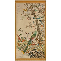 Chinese 100 Bird with Phoenix Hand-Painted Hanging Scroll