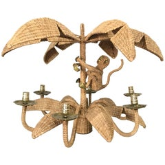 Mario Torres Woven Wicker Palm and Monkey Chandelier