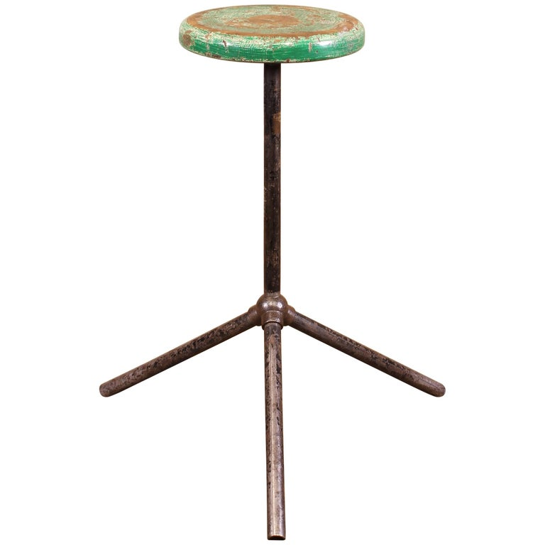 Three Pole Factory Stool Vintage Shop Industrial Style, Steel and Wood For Sale