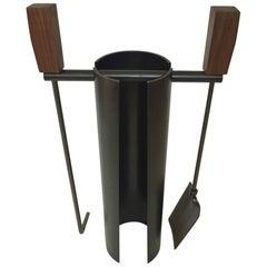Contemporary Minimalist Blackened Steel or Walnut Fire Tools Set by Scott Gordon