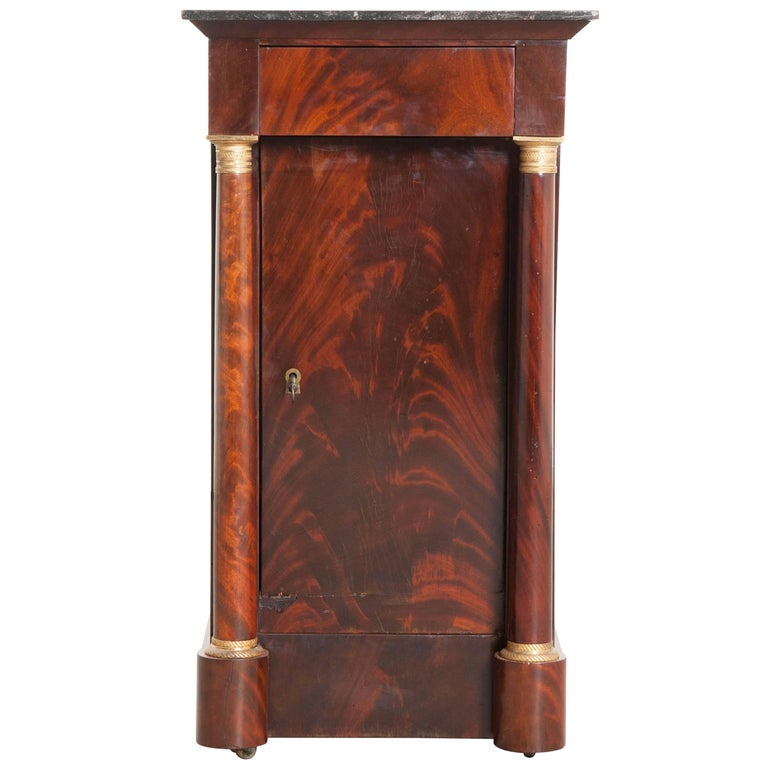 French, 1940s Mahogany Empire Bedside Table For Sale