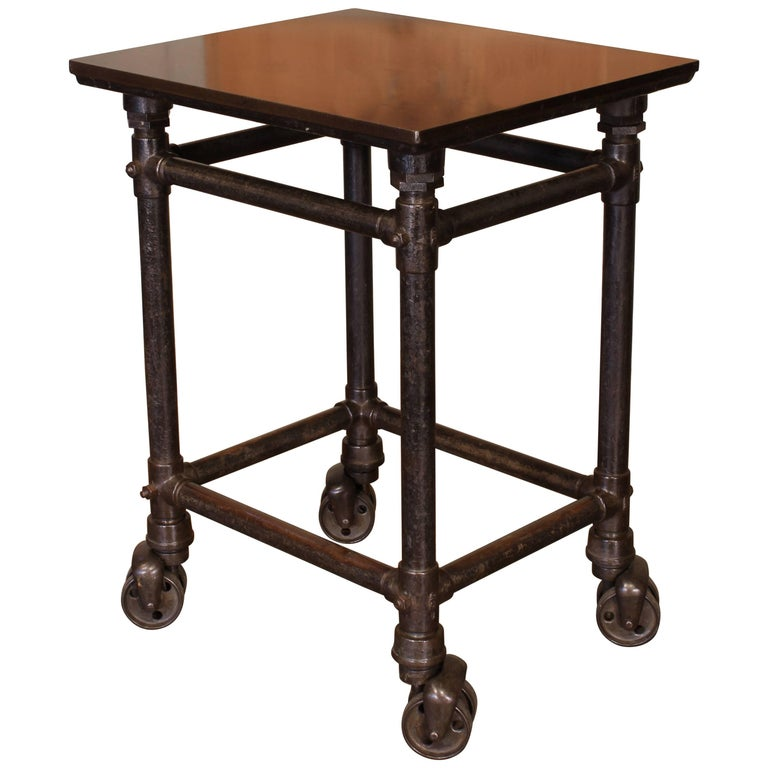 Antique Turtle Print Table, Rolling Bar Cart For Sale