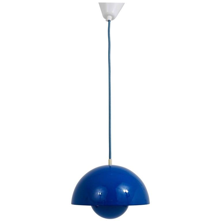 Blue-Green Verner Panton Flowerpot Pendant Lamp, Louis Poulsen, Denmark, 1969