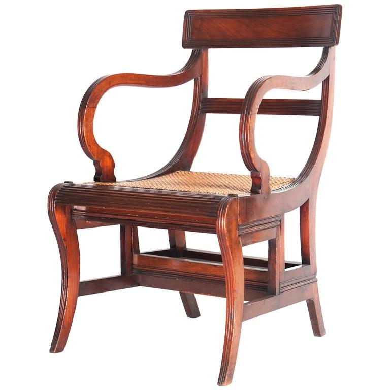 Regency Mahogany Metamorphic Library Chair or Steps