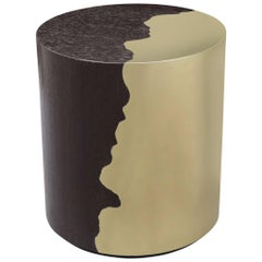 Contemporary Oak and Brass Round Side Table