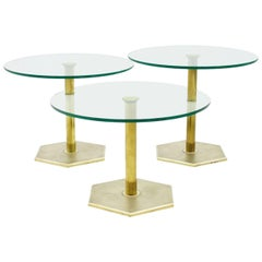 Set of Three Brass and Glass Side Tables, Nesting Tables