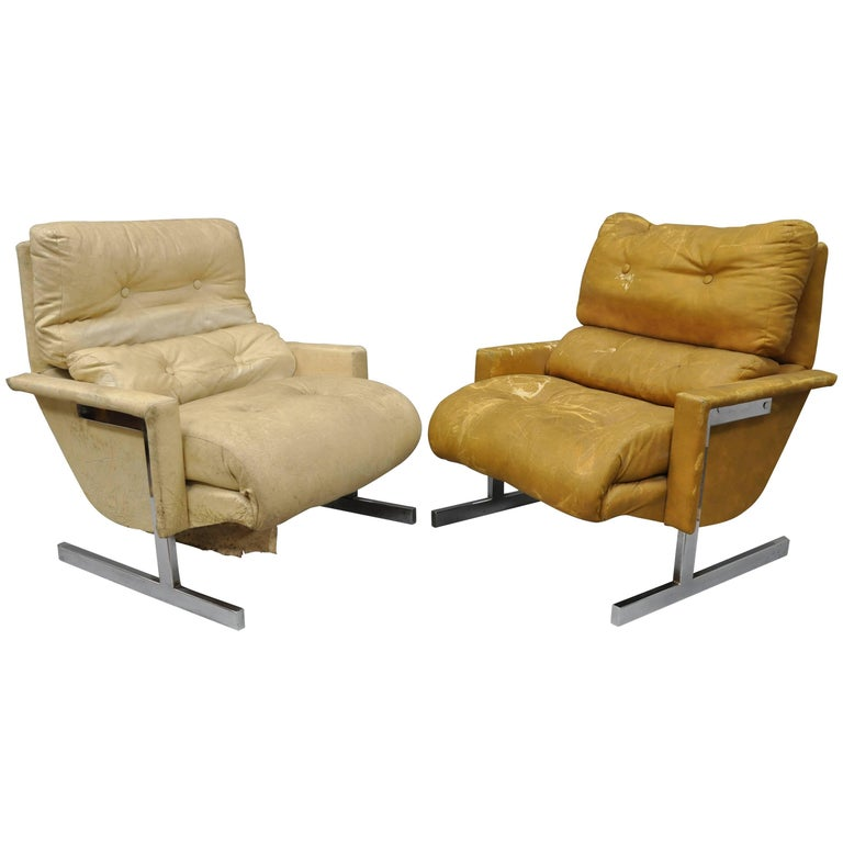 Pair of Chrome Club Lounge Chairs after Milo Baughman by Cimon Limited Canada