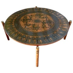 Stamped Copper Egyptian Themed Coffee Table by Vad Trevare, Norway, 1960s