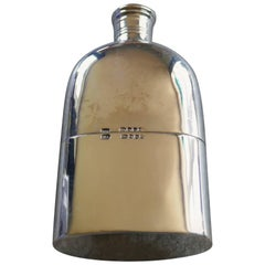 Solid Silver Hall Marked Pocket or Hip Flask and Cup Date 1888