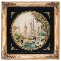 Eglomise Framed Needlework Panel, with Oriental Scenery and French Ship
