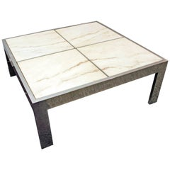 Mid-Century Modern Leon Rosen for Pace Marble Chrome Coffee Table