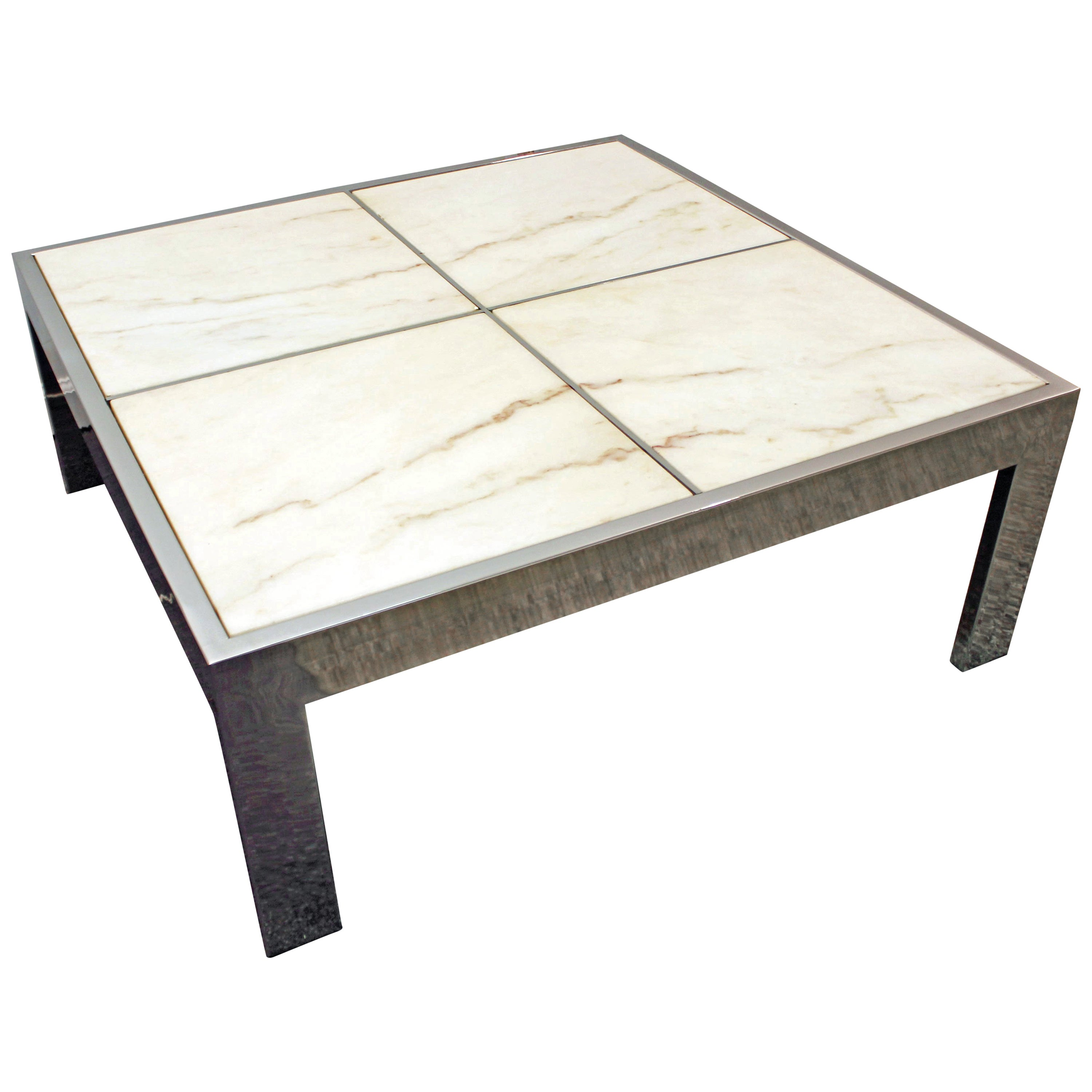 Pace Collection Chrome And Glass Waterfall Coffee Table By Leon