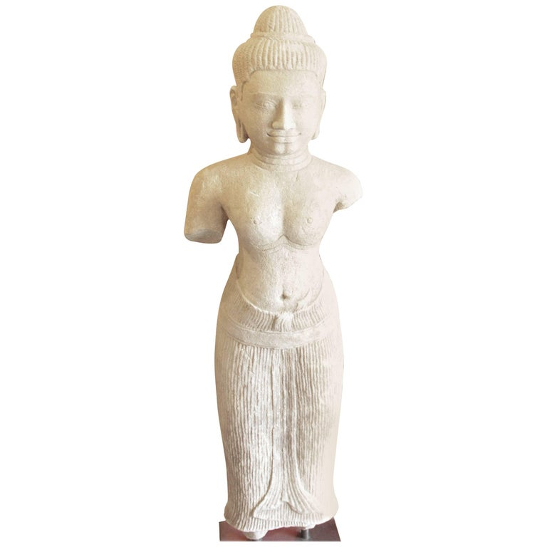 Baphuon Style Female Sandstone Statue Cambodia 11th Century