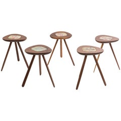 Five Lee Porzio & Allen Ditson Walnut Ceramic Side Tables