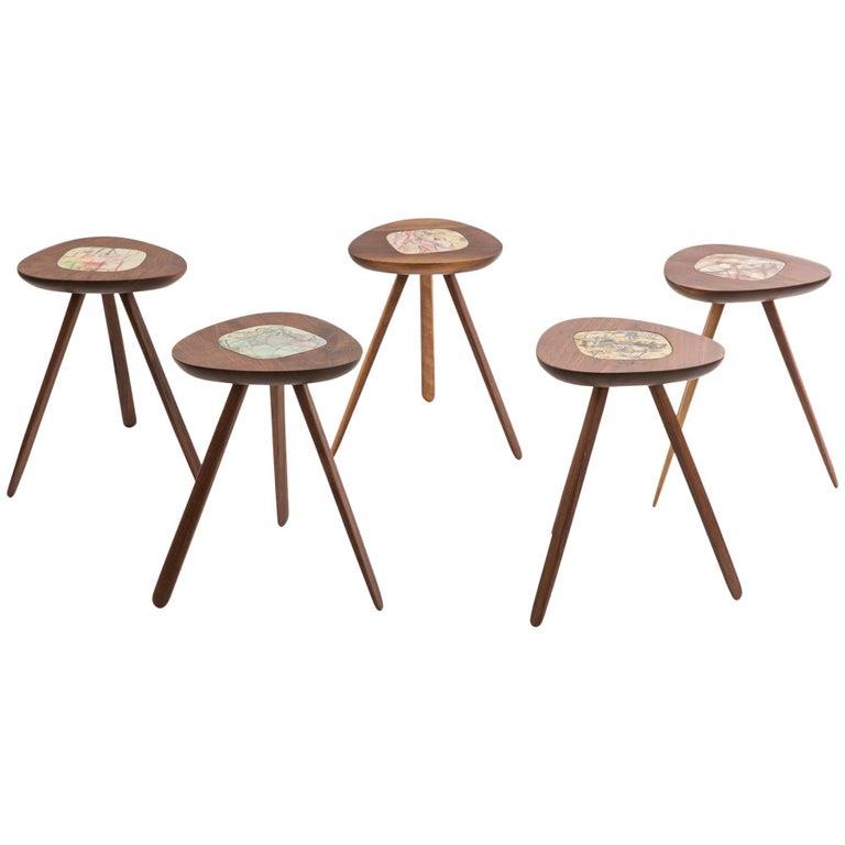 Five Lee Porzio & Allen Ditson Walnut Ceramic Side Tables
