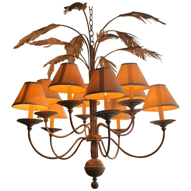 Palm Tree Frond Leaf Leaves Ten-Light Chandelier Metal Tole
