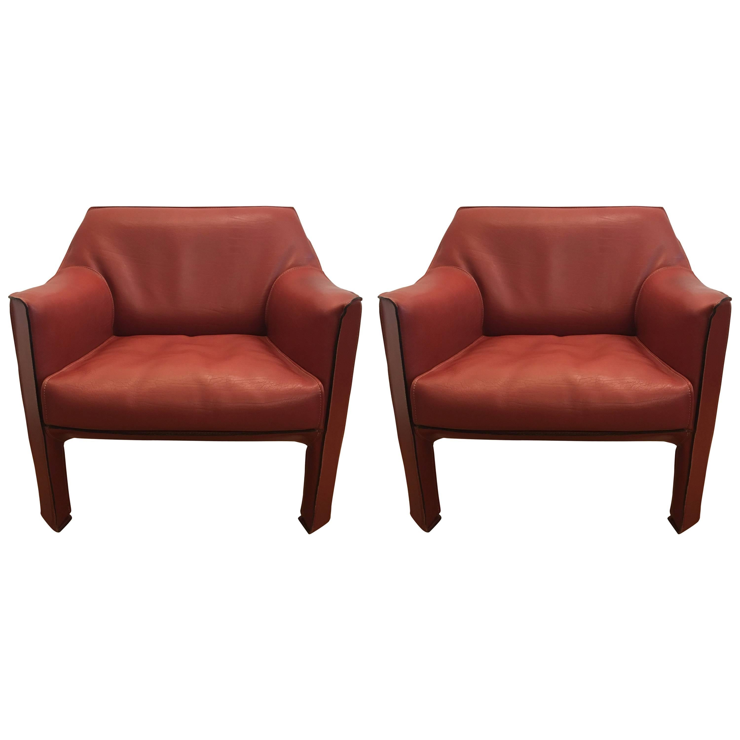 Beau Large Pair Of Mario Bellini Cab Lounge Chairs For Sale