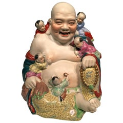 "Old Chinese Porcelain Multicolored ""Smiling Buddha"", circa 1900"