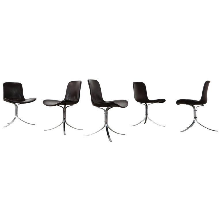 Five Poul Kjærholm PK9 Chairs, Dark Brown Leather, 1985 by Fritz Hansen, Denmark For Sale