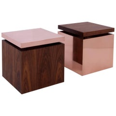 Pair of Contemporary Cube End Tables in Copper and Walnut by Brant Ritter