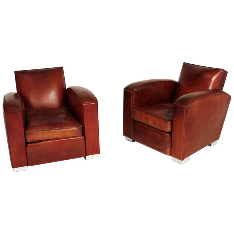 Pair of Art Deco Club Chairs by Jacques Adnet