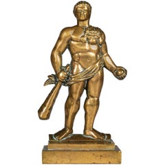 English 19th Century Cast Brass Doorstop Figure of Hercules