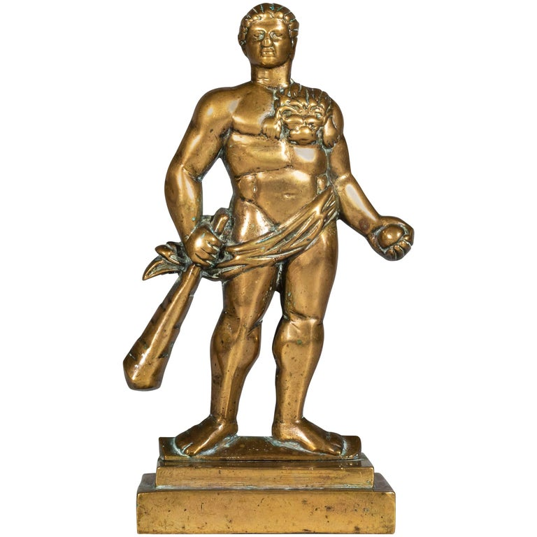 English 19th Century Cast Brass Doorstop Figure of Hercules