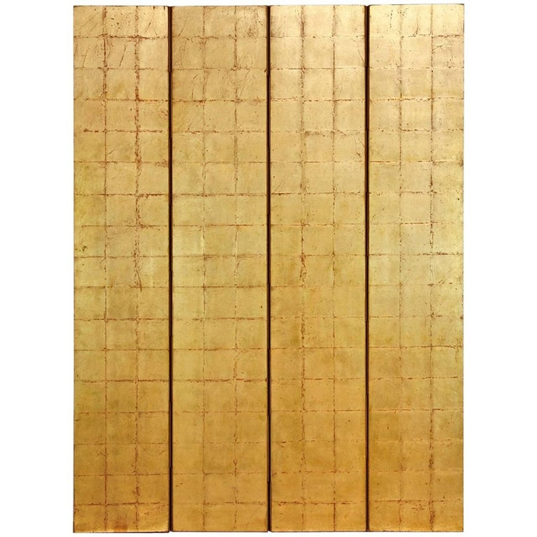 Four-Panel Gold Leaf Room Divider Two Sided Screen