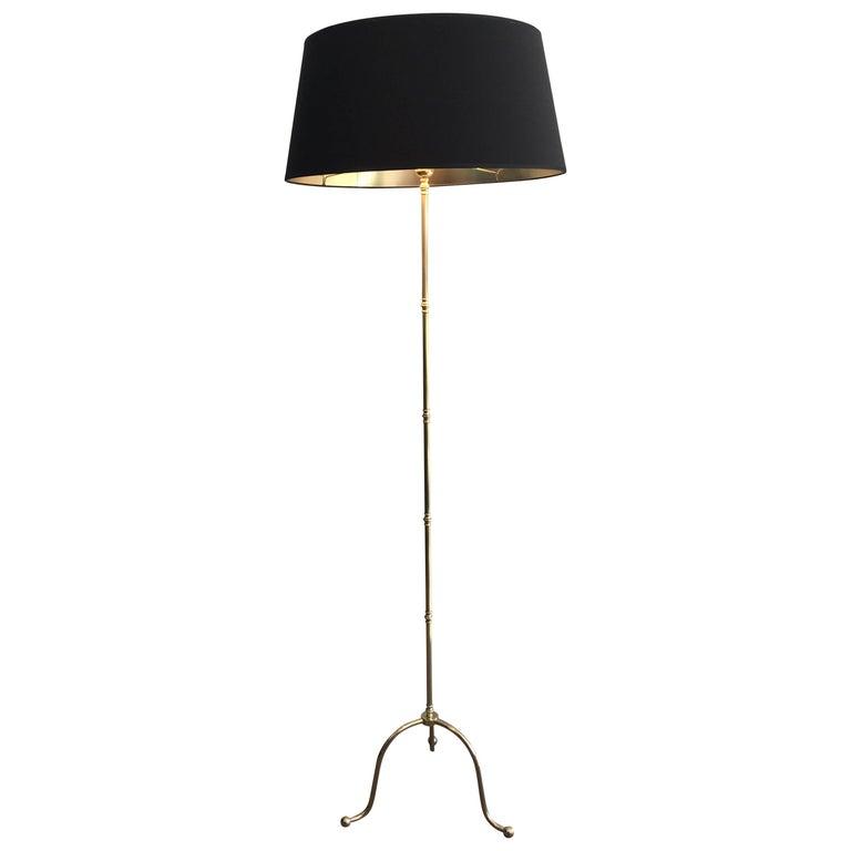 Mid-Century Modern Brass Floor Lamp with Tripod Base