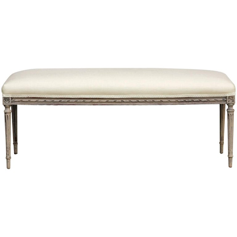 Louis XVI Style Painted French Linen Window Bench