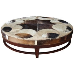 1970s Cowhide Ottoman with Walnut Base