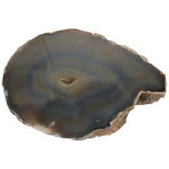 Blue and Tan Agate Onyx Decorative Object