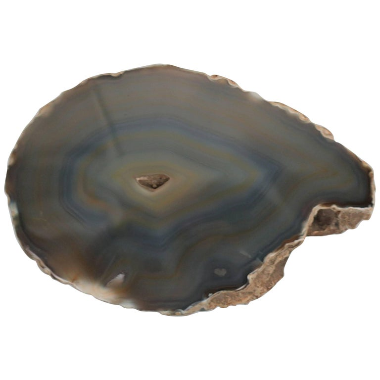 Blue and Tan Agate Crystal Geode