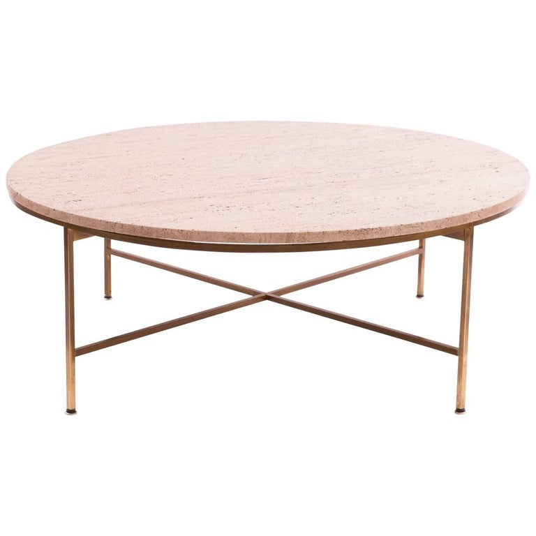 Paul Mccobb Brass and Travertine Cocktail Table