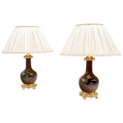 Pair of Brown and Blue Porcelain Lamps, Japanese Style, Late 19th Century