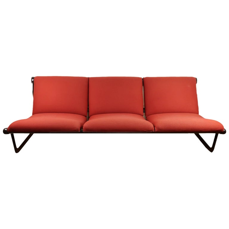 Brown and Red Hannah Morrison Sofa for Knoll International