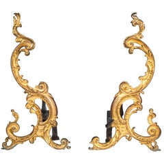 Large Pair of English 18th Century Rococo Ormolu Andirons Fire Dogs