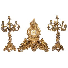 Large 19th Century Louis XVI Style Ormolu Clock Set
