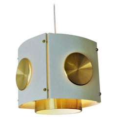 Square Shaped Ceiling Lamp of Brass and Metal, Scandinavia