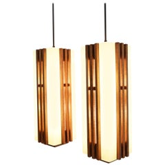 Pair of Large Frank Lloyd Wright Style Chandeliers/Pendants