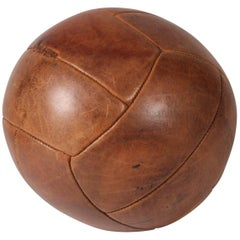Mid-Century Modern Leather Medicine Ball