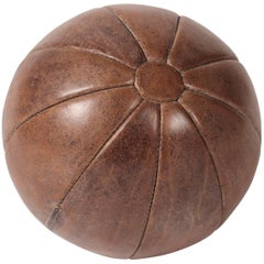 Mid-Century Modern Vintage Leather Medicine Ball
