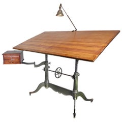 Keuffel and Esser Double Pedestal Cast Iron Art Table